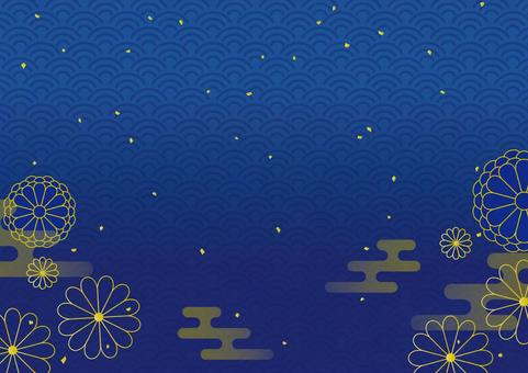 New Year background Qinghai wave gold leaf blue