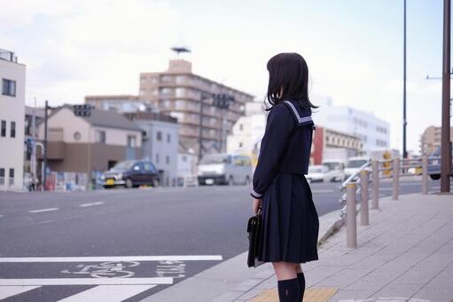 School girls waiting for a signal