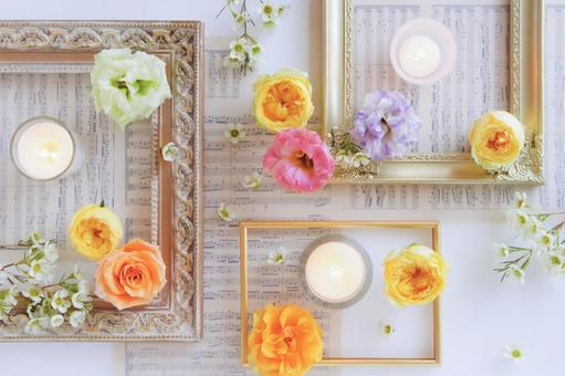 Flowers and frames and candles