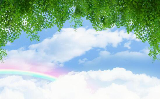 Katsura leaves and rainbow sky (PSD data is divided into layers)
