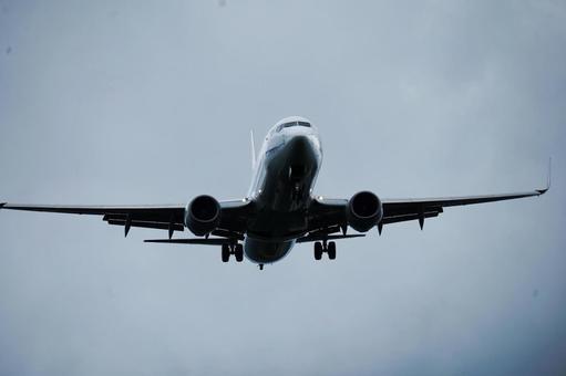 Jet airliner ready for landing