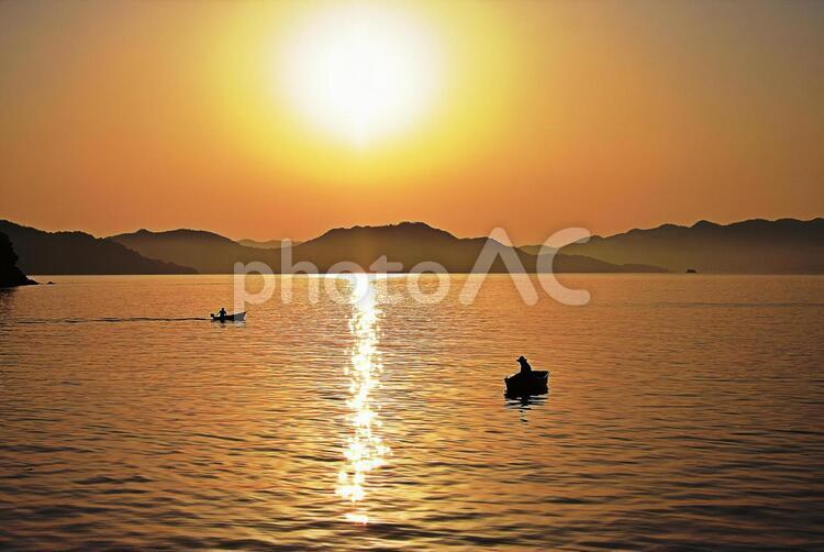 向島キャンプ場からの夕陽の写真