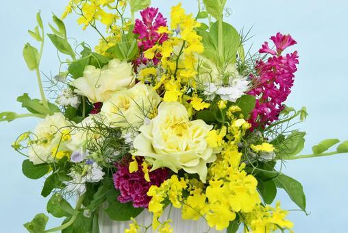 Bright spring image flower arrangement sky blue background