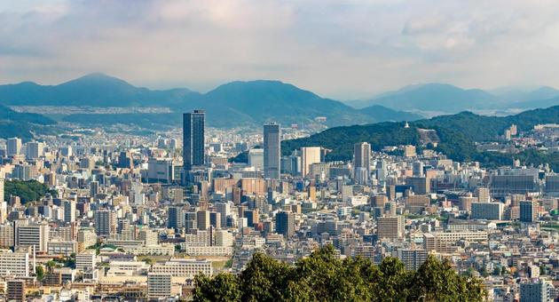 Cityscape in the center of Hiroshima city
