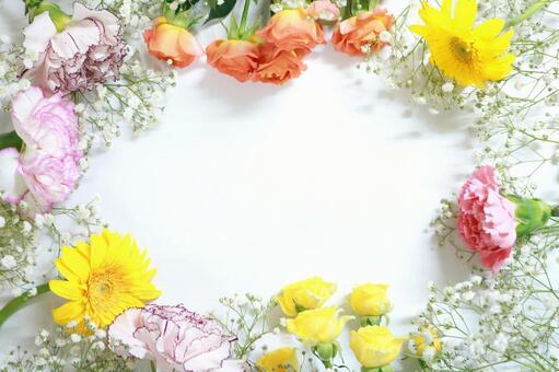 Flower frame (light color) Botanical frame background Wallpaper material
