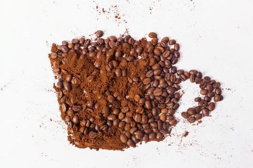 커피 콩 가루로 그린 컵 1