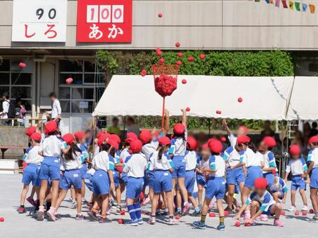 Elementary school students in the red group who put balls at the athletic meet