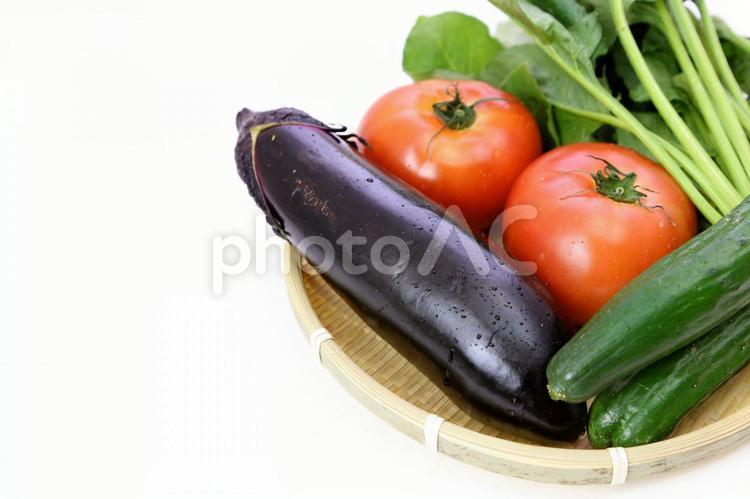 ザルに入った夏野菜の写真