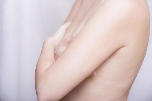 女性隐藏用手1半身像