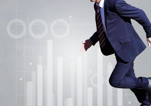 Running businessman and graph image