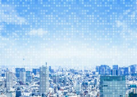 City and digital image background