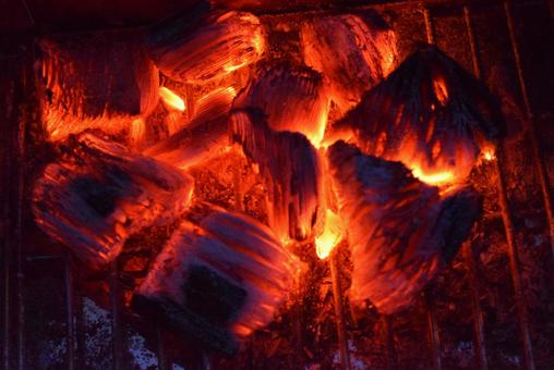 Charcoal fire at night on the bonfire grill!