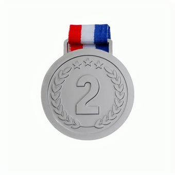 Silver medal 2nd place Ranking material psd has transparent background and cutout pass