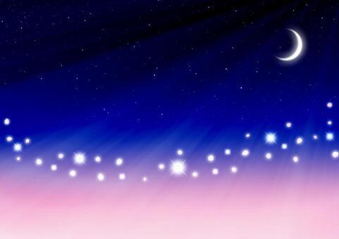 벚꽃 초승달의 빛이 반짝이는 벚꽃 눈보라 배경 소재 (연 분홍색 × 블루)