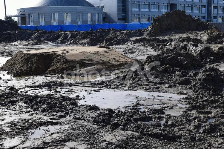 施工中の基礎工事現場の写真