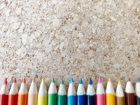 색 연필과 코르크 옆 ver