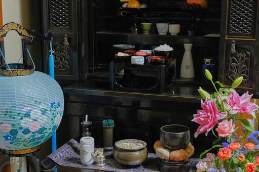 Obon image Bon lantern, Buddhist altar and offering set Summer material