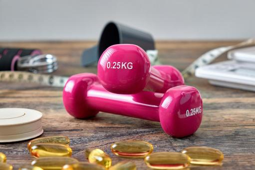 Dumbbells on the table
