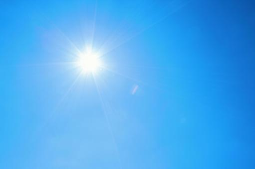 Blue sky with strong sunlight Cloudless sky background material