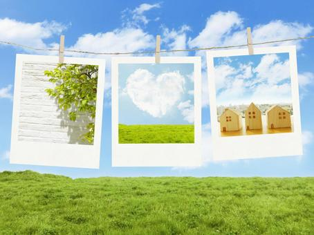 Photographs decorated with blue sky, meadows and ropes