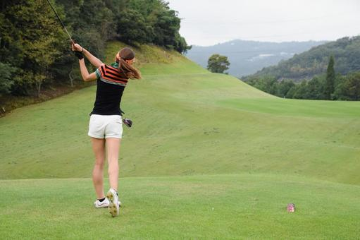 Golf girl's tee shot series 7