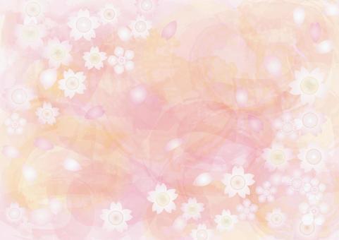 Sakuraguki Handwriting Watercolor wallpaper background Transparent feeling Sakura Hana Spring