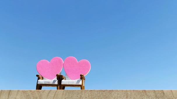 Small items with 2 chairs and 2 hearts_right space_blue sky