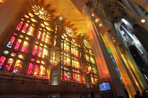Stained glass of Sagrada Familia