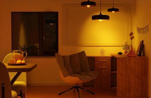 Image of interior illuminated by warm lights at night