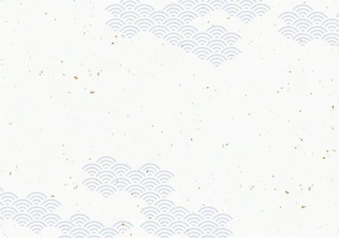 Japanese traditional pattern, Qinghai wave, Japanese paper with gold and silver foil