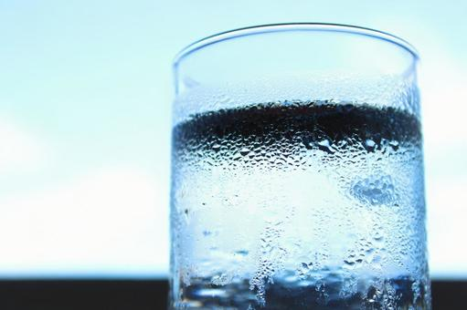 Image of glass cup hydration [summer drink glass blue sky cold]