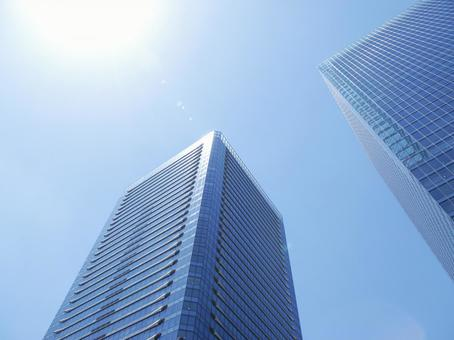 Blue sky and skyscrapers