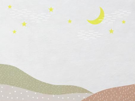 Japanese paper of sky, moon and mountain scenery_Ocher modern Japanese pattern texture_Background material
