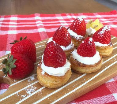 Crispy strawberry pie with seasonal strawberries on top