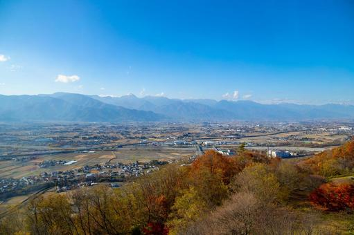 View of Azumino from the observation deck of Matsumoto City Alps Park