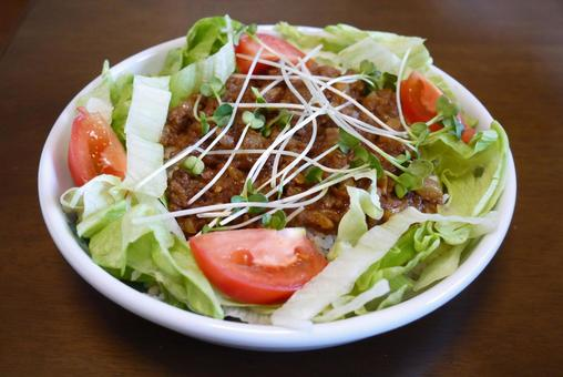 Cooking Salad-style keema curry
