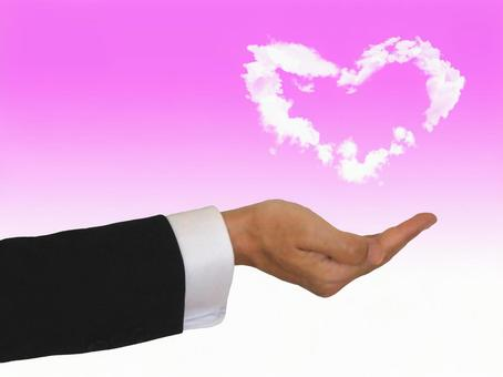 Heart cloud and hands