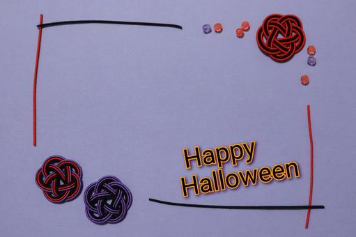 Mizuhiki frame Halloween text background color with purple beads Enclosure