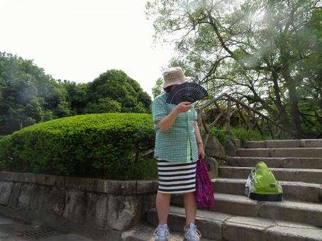 Funny aunt and folding fan