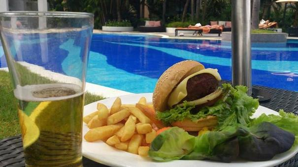 Light meal by the pool