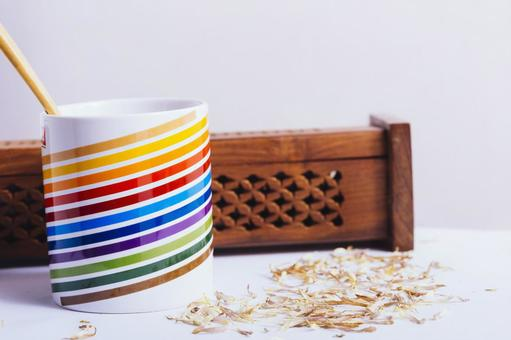Rainbow-colored cup