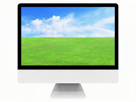 JPG format / Sky and lawn screen / Desktop computer / Mockup / Terminal / Composite processing / Business / Web / Background / Material Texture / Wallpaper / Image