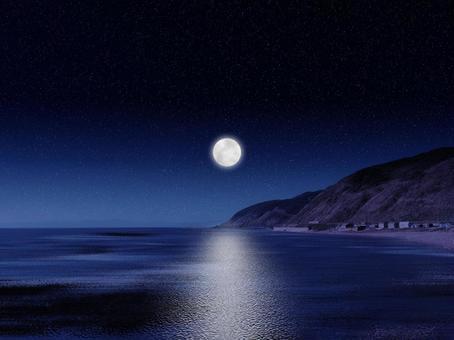 Night sky, sea and moon road 01
