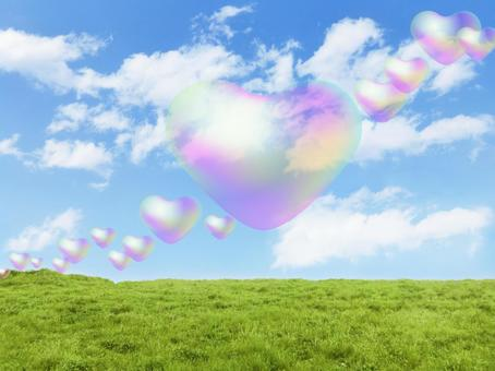 Soap bubbles, prairie and blue sky in heart