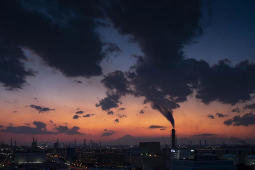가와사키 마리엔에서 공장 야경과 후지산