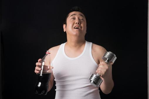 Men with dumbbells and drinks 1