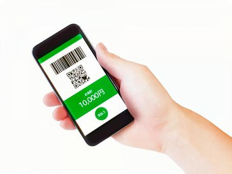 Hands of cashless payments / contactless payments / electronic money payments / qr code payments / bar code payments / mobile phones / smartphones / accessories / miscellaneous goods / yellow-green