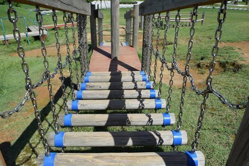 Playground equipment in the athletic children's park