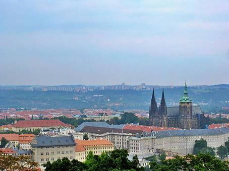 Prague Castle and the rooftops of Prague