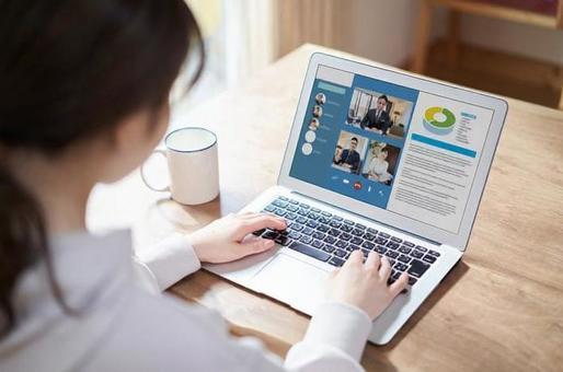 Asian women having an online meeting